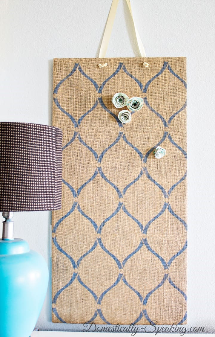 DIY Stenciled Burlap Magnet Board