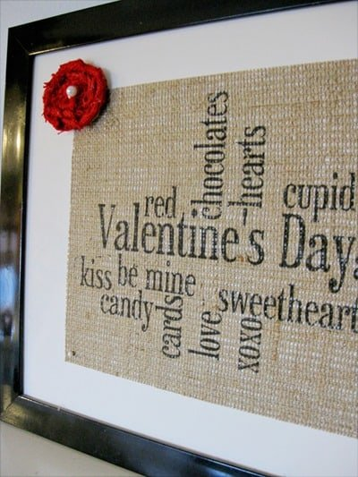 Valentine's Subway Burlap Sign
