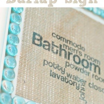 Bathroom Subway Sign on Burlap