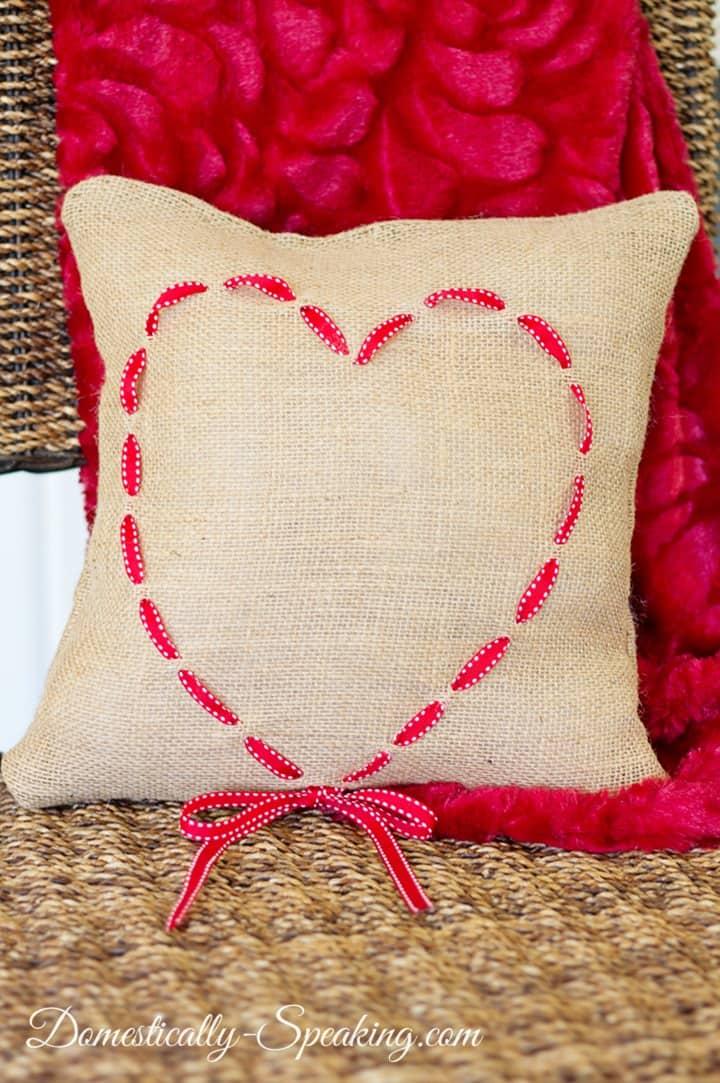 Burlap and Ribbon Heart Pillow