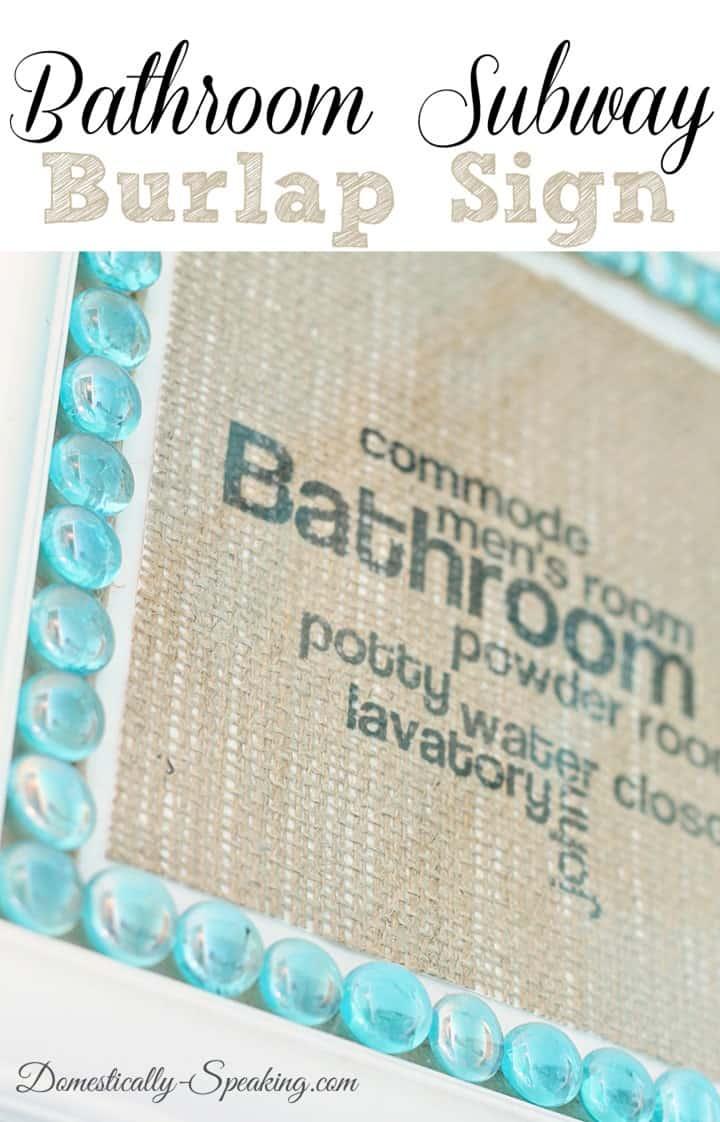 Bathroom Subway Burlap Sign