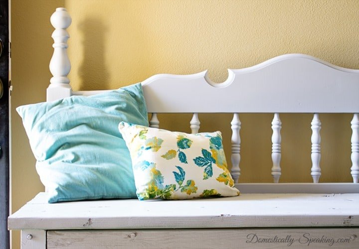 Headboard Bench with Pebble Gray paint