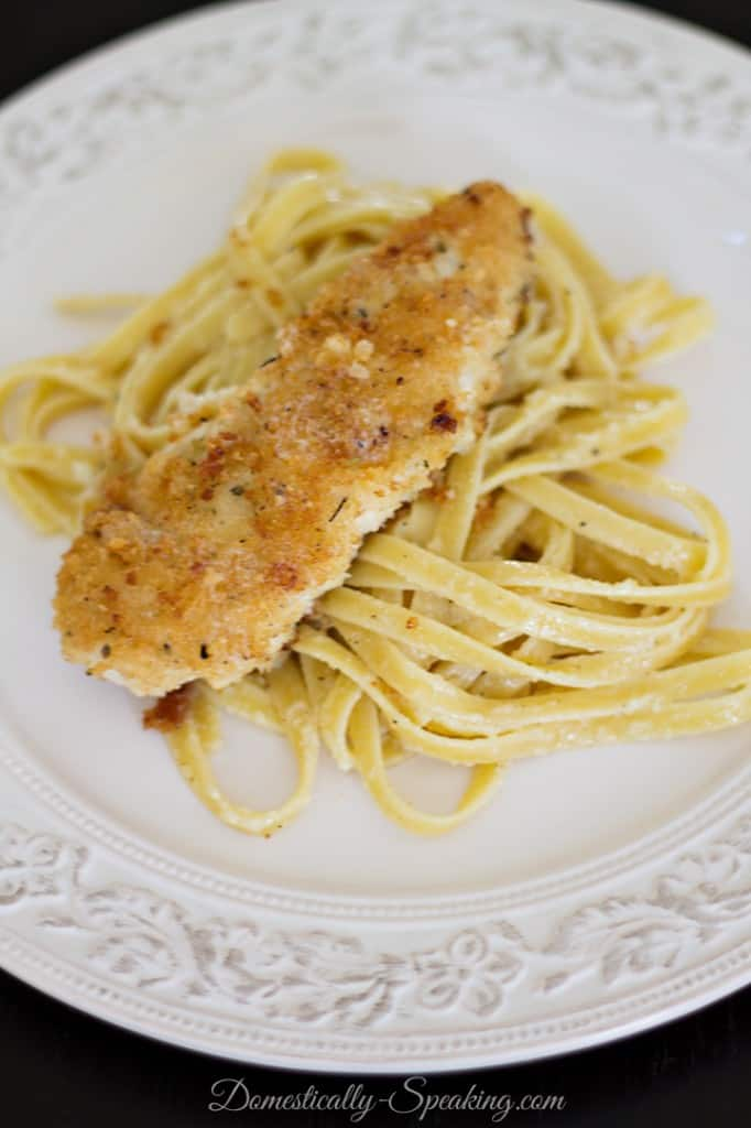 Panko Chicken with Garlic Butter Fettuccine - Domestically Speaking