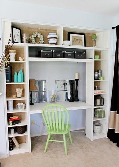Burlap backed Bookshelves