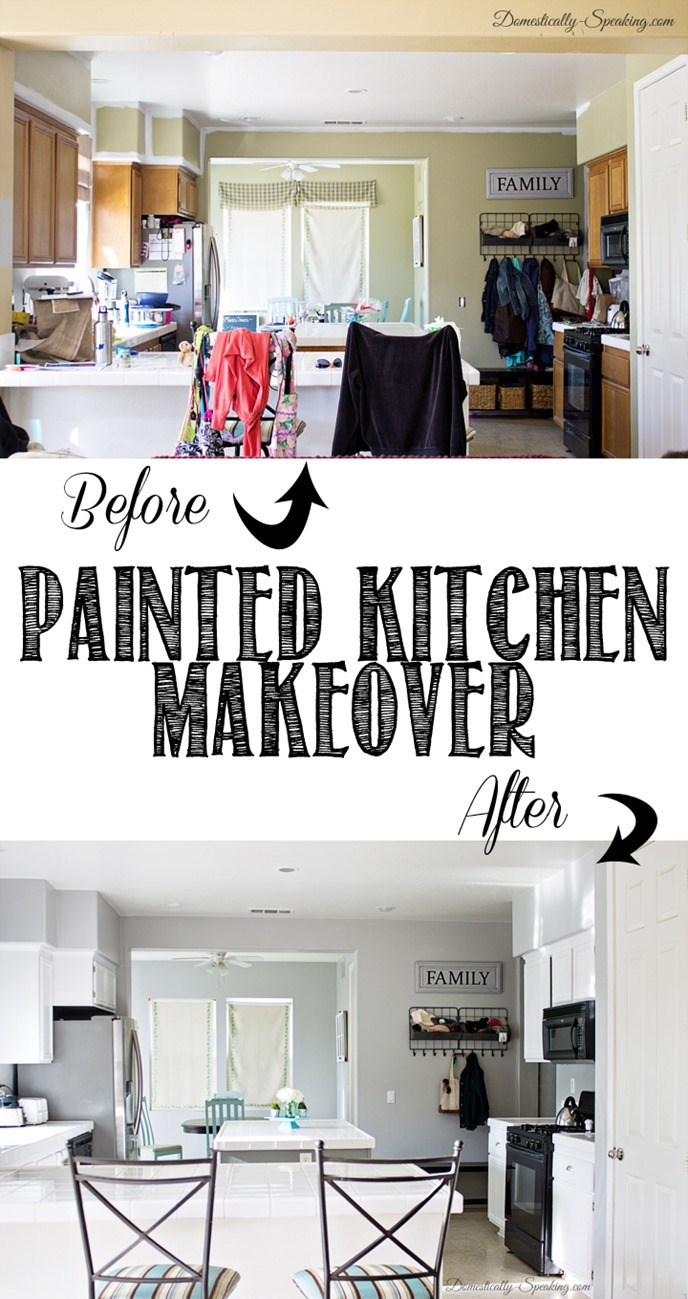 Gray And White Painted Kitchen Cabinets Makeover Domestically Speaking