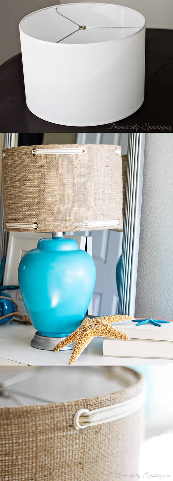 Burlap Lampshade with Grommets and Satin Ribbon