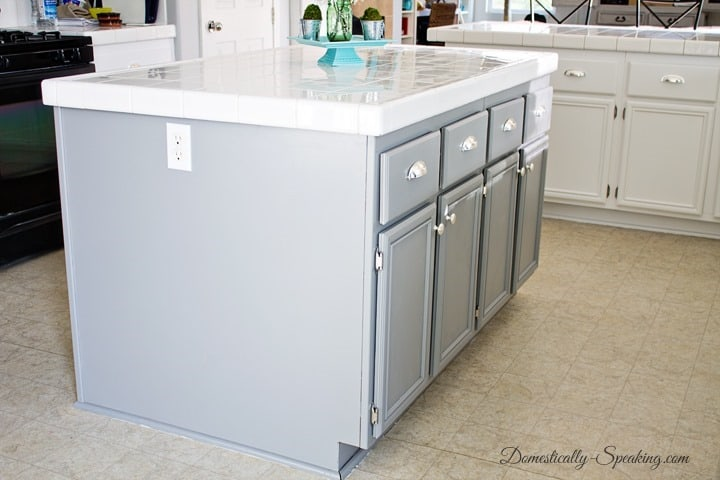 Gray Painted Kitchen Island