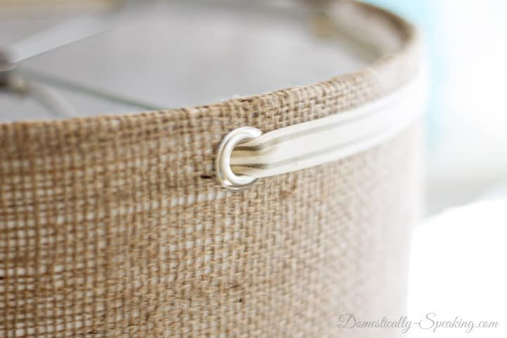 Burlap Lampshade with Grommets and Ribbon