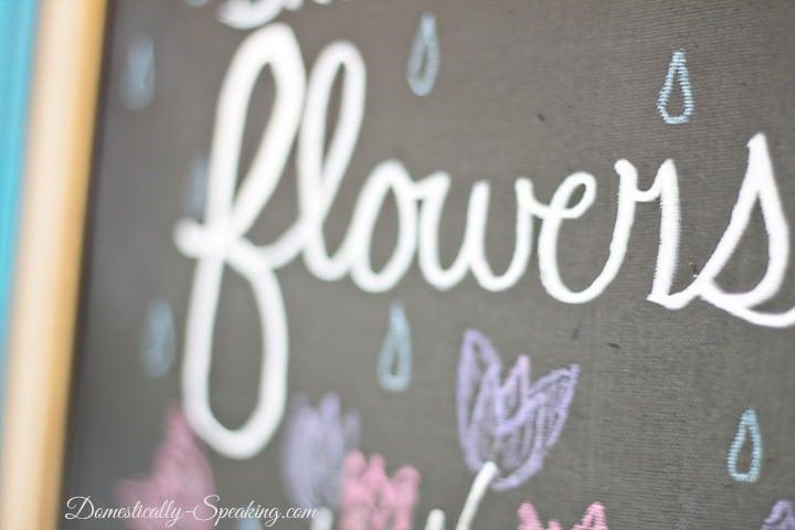 Spring Mason Jar Chalkboard Mantel
