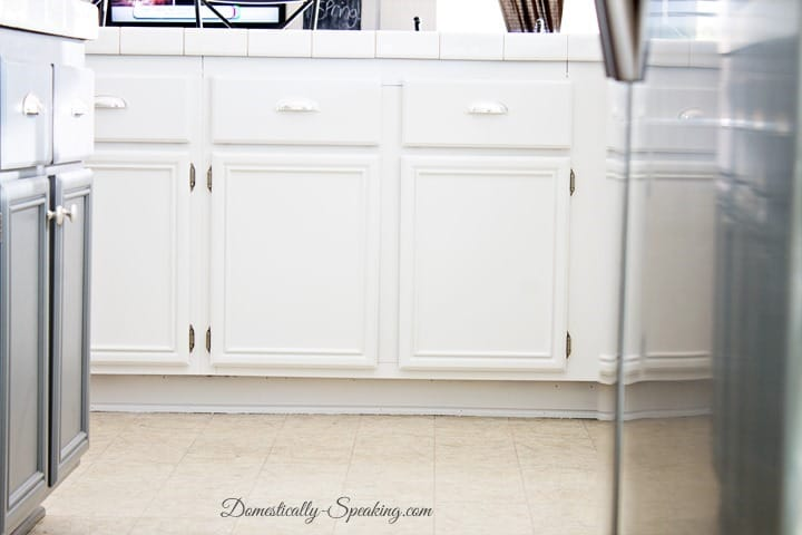 White and Gray Painted Kitchen Cabinets