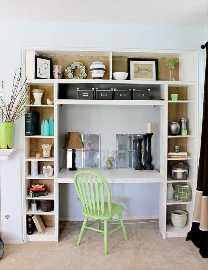 Burlap Backed Bookshelves - Great addition to add texture and so much easier than paint!