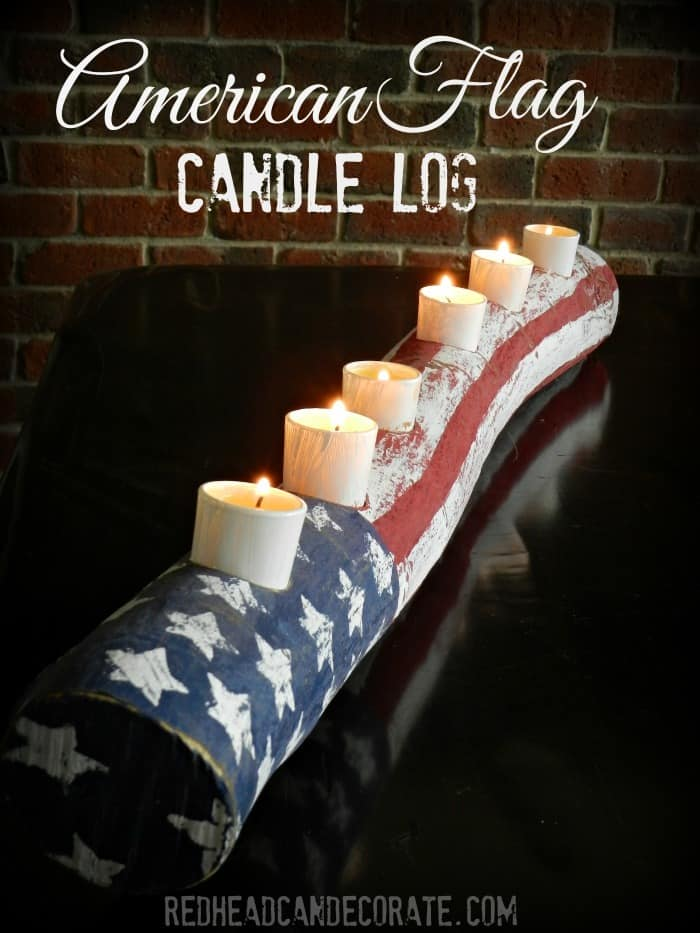 American Flag Log Candle from Redhead Can Decorate