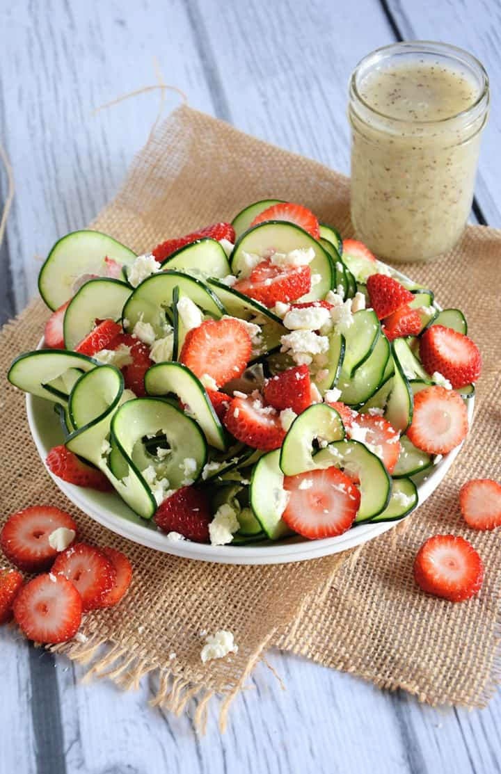 Cucumber and Strawberry Salad with Poppyseed Dressing fom The Housewife in Training Files