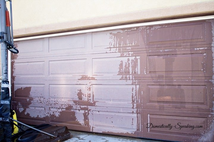 One year later our gel stained garage door for Garage ad stains