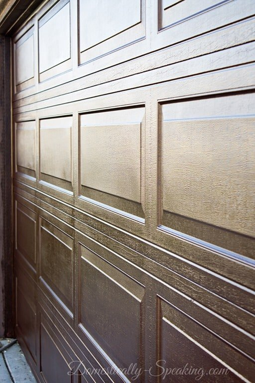 Diy garage door makeover with stain domestically speaking for Garage doors that look like wood