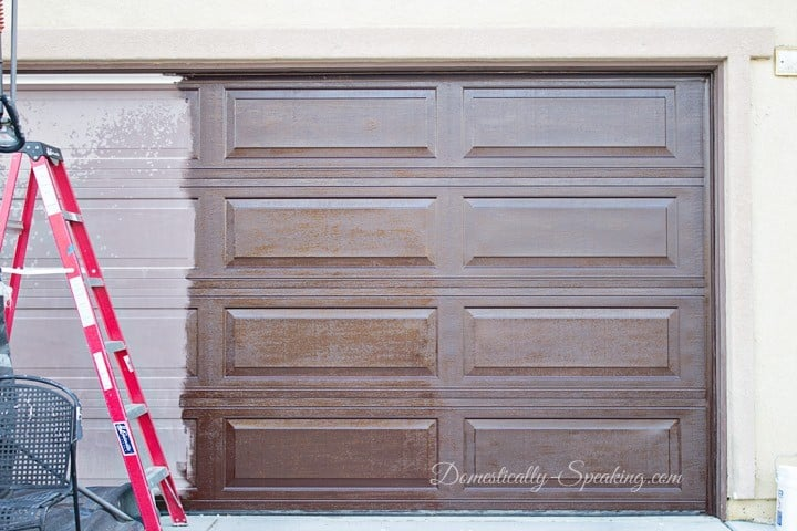 12 amazing outdoor diy projects domestically speaking for Garage door faux wood finish