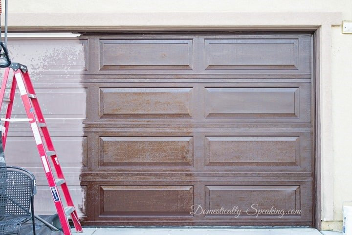 Update Your Garage Door with Gel Stain - it's half done
