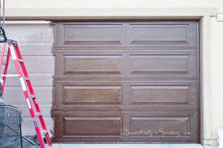 Update Your Garage Door with Gel Stain - it's half done