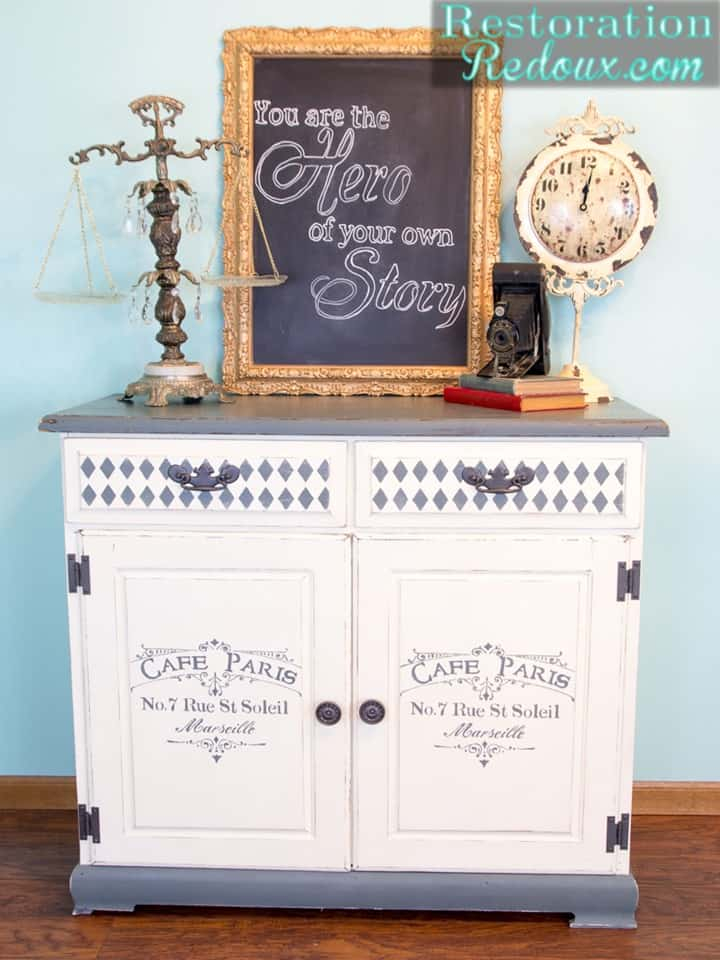 Gray and Ivory Stenciled Cabinet from Restoration Redoux