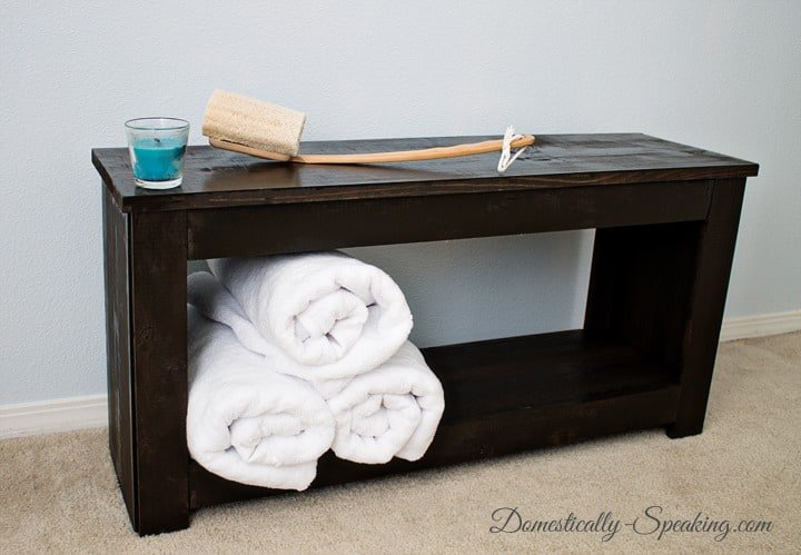 Bathroom Bench diy bathroom storage bench - domestically speaking