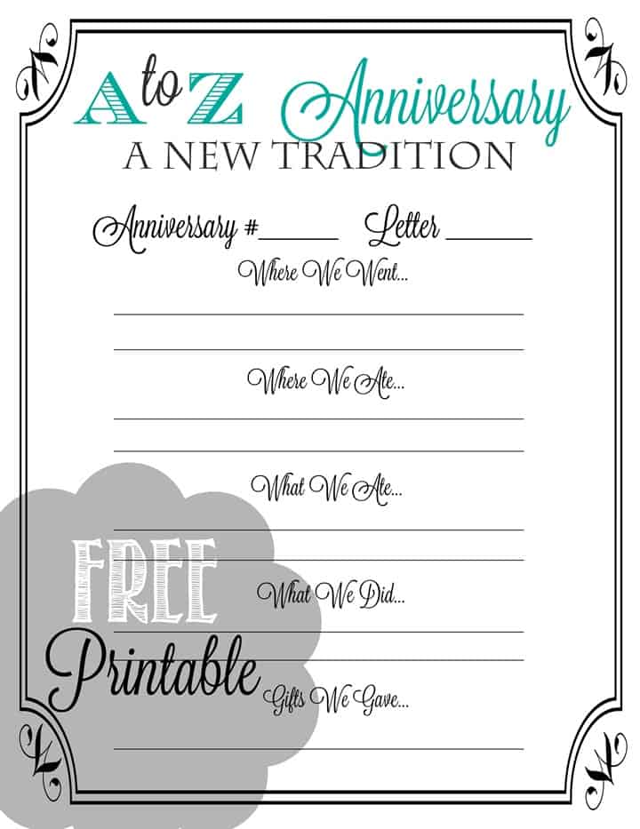 A to Z Anniversary Printable image