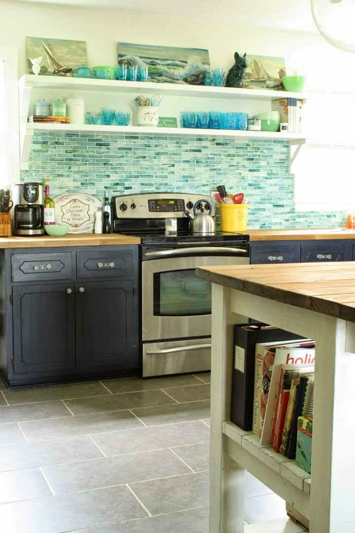 Beautiful Beachy Blues in this Remodeled Kitchen from Primitive and Proper