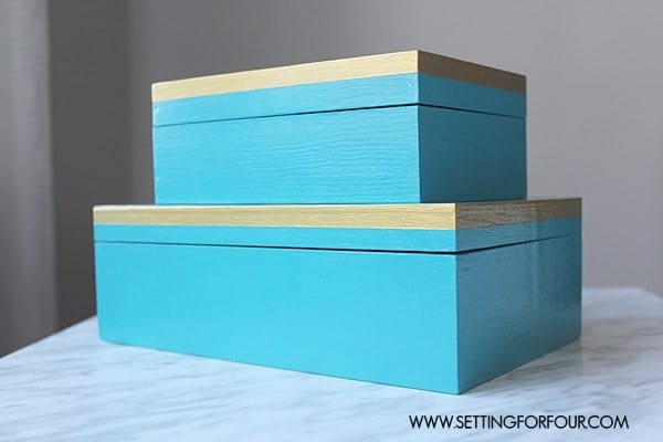 Beautiful blue and gold boxes from Setting for Four