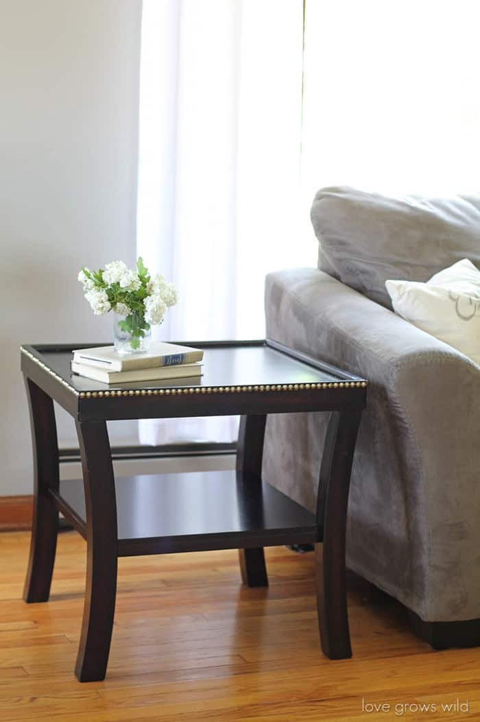 DIY Nailhead Trim Table from Love Grows Wild
