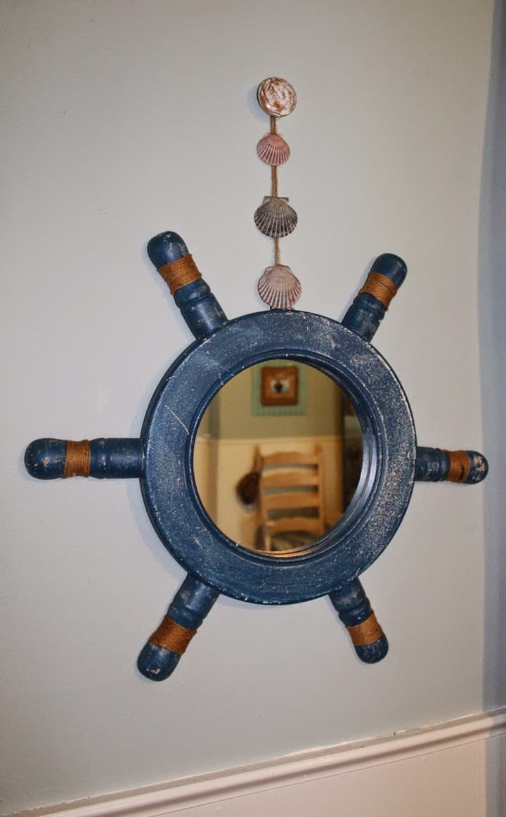 Hanging a Ship Wheel from Love My Simple Home