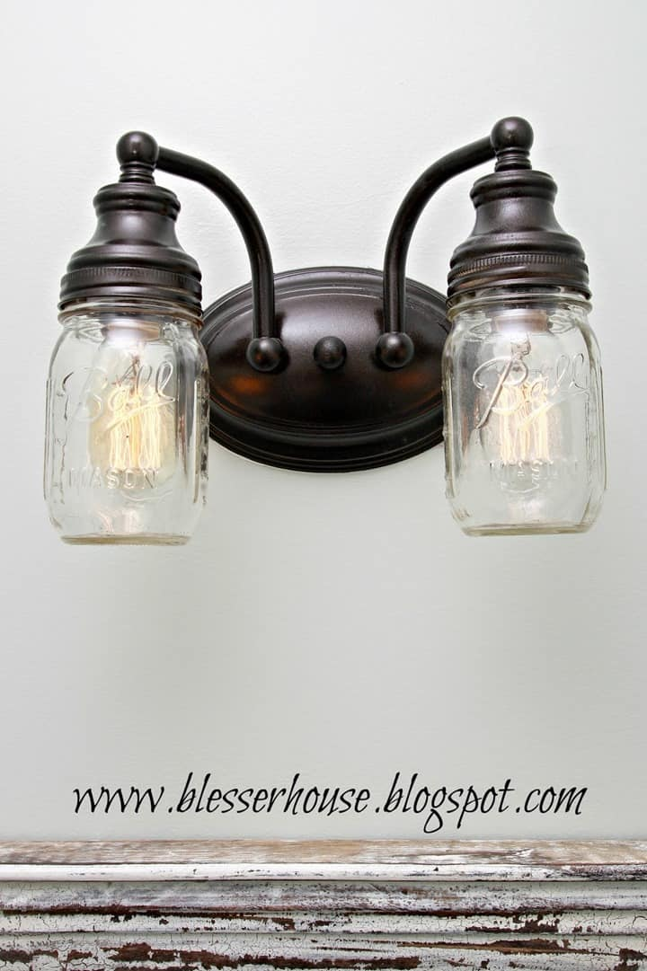 Mason Jar Vanity Light from Blesser House