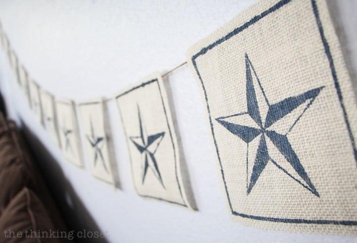 Nautical Burlap Star Banner from Thinking Closet