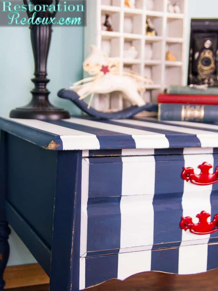 Nautical Striped Side Table from Restoration Redoux