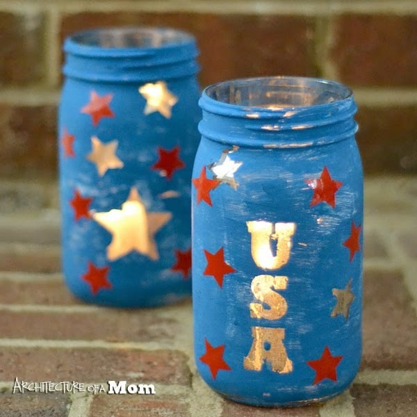 Patriotic Mason Jar Candle Holders from Architechure of a Mom