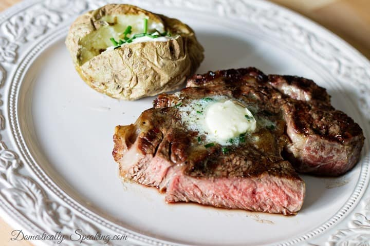 Steak with Garlic and Chive Butter 2