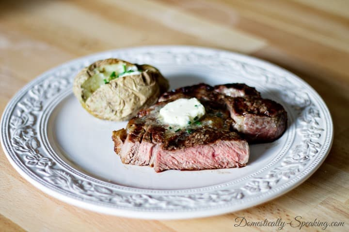 Steak with Garlic and Chive Butter 3