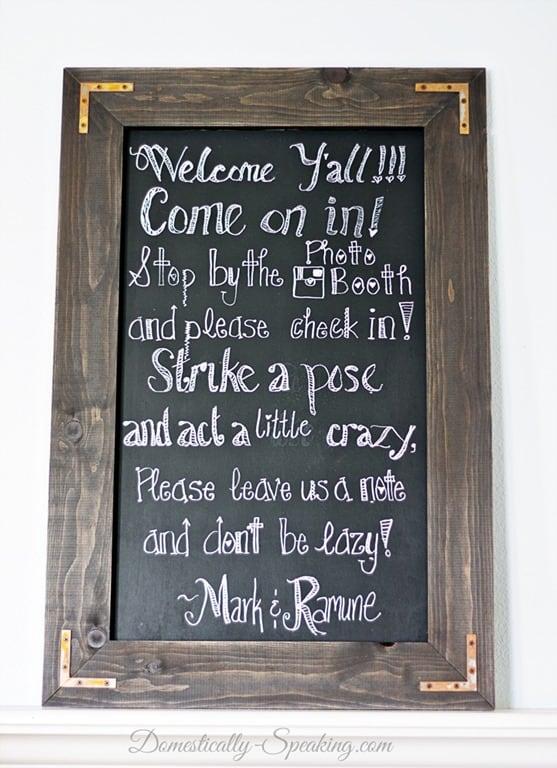 diy rustic chalkboard for a wedding