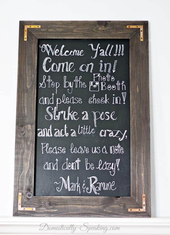 DIY Rustic Chalkboard Wedding Sign ~ You can make one too!