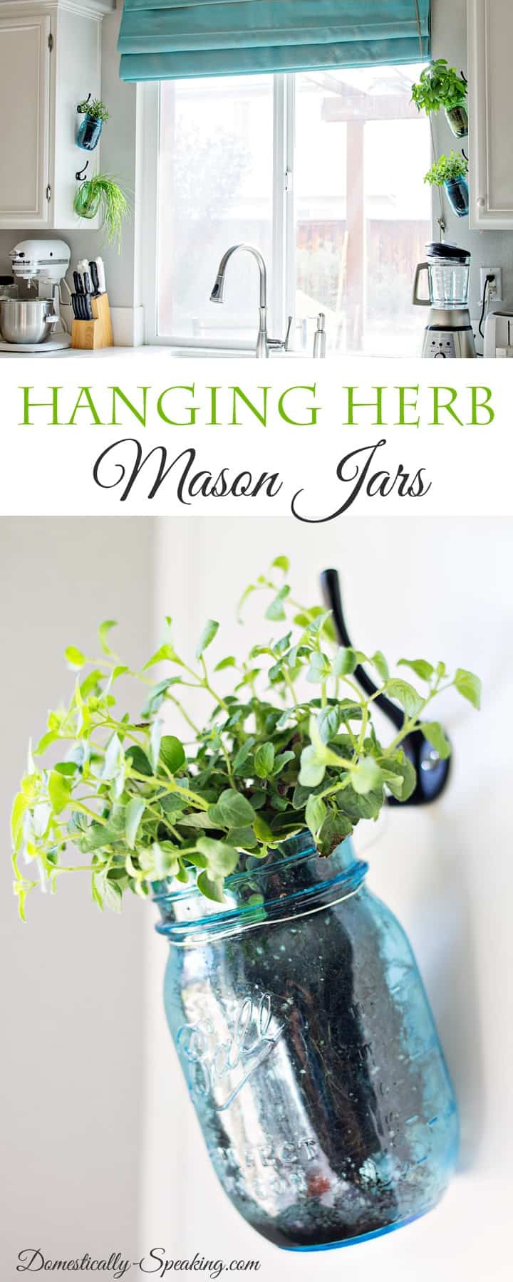 Hanging Fresh Herbs in Vintage Blue and Green Mason Jars - perfect way to have an indoor herb garden in your kitchen!