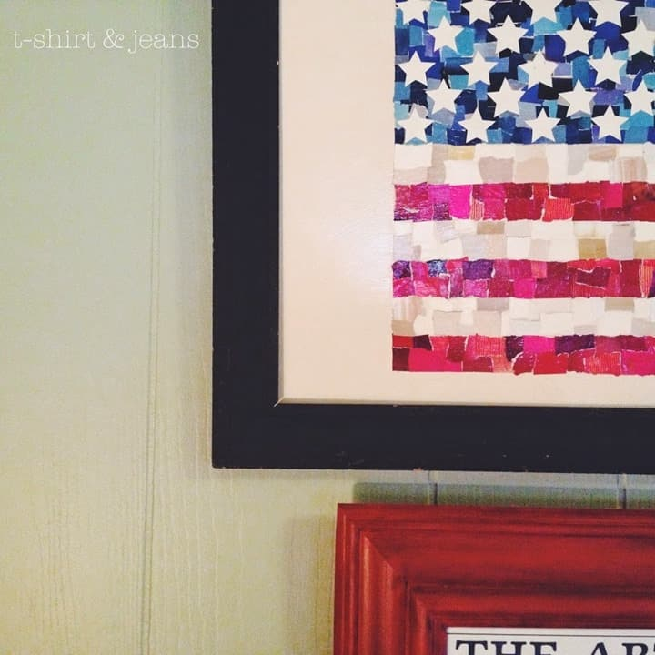 Scrap Paper American Flag Sign from TShirt Jeans