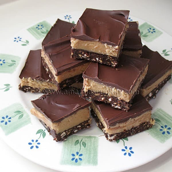 Chocolate Topped Peanut Butter Bars from Amandas Cookin