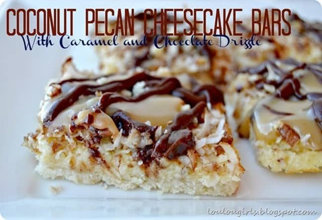 Coconut Pecan Cheesecake Bars from LouLou Girls