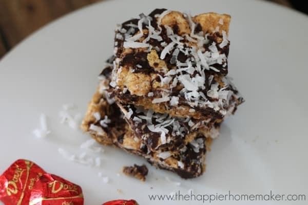 Dark Chocolate Coconut Bars from The Happier Homemaker