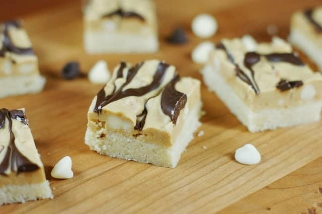 Marbled Peanut Butter and Chocolate Shortbread Bars from The Kitchen in My Playground