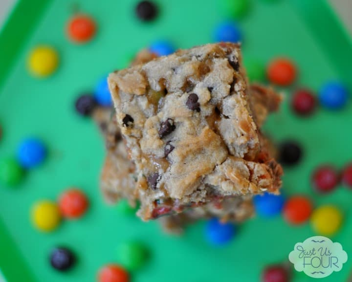 Salted Caramel M&M Bars from Just Us Four