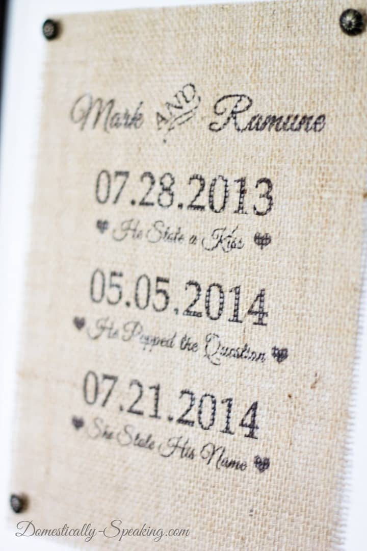 Wedding Burlap Sign - save those dates on a burlap sign