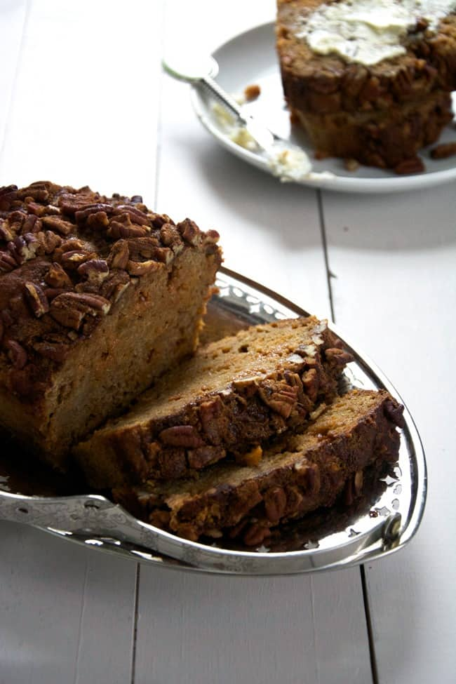 Brown Butter Apple Bread with Butterscotch Chips and Cinnamon Pecan Streusel