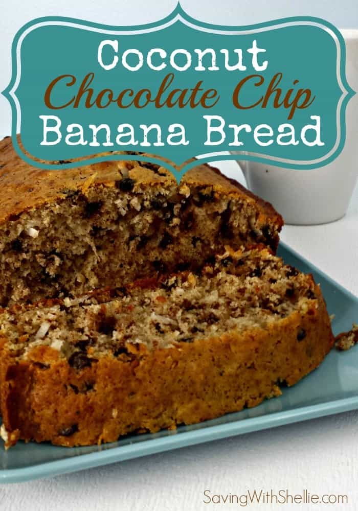 Coconut Chocolate Chip Banana Bread from Saving with Shellie