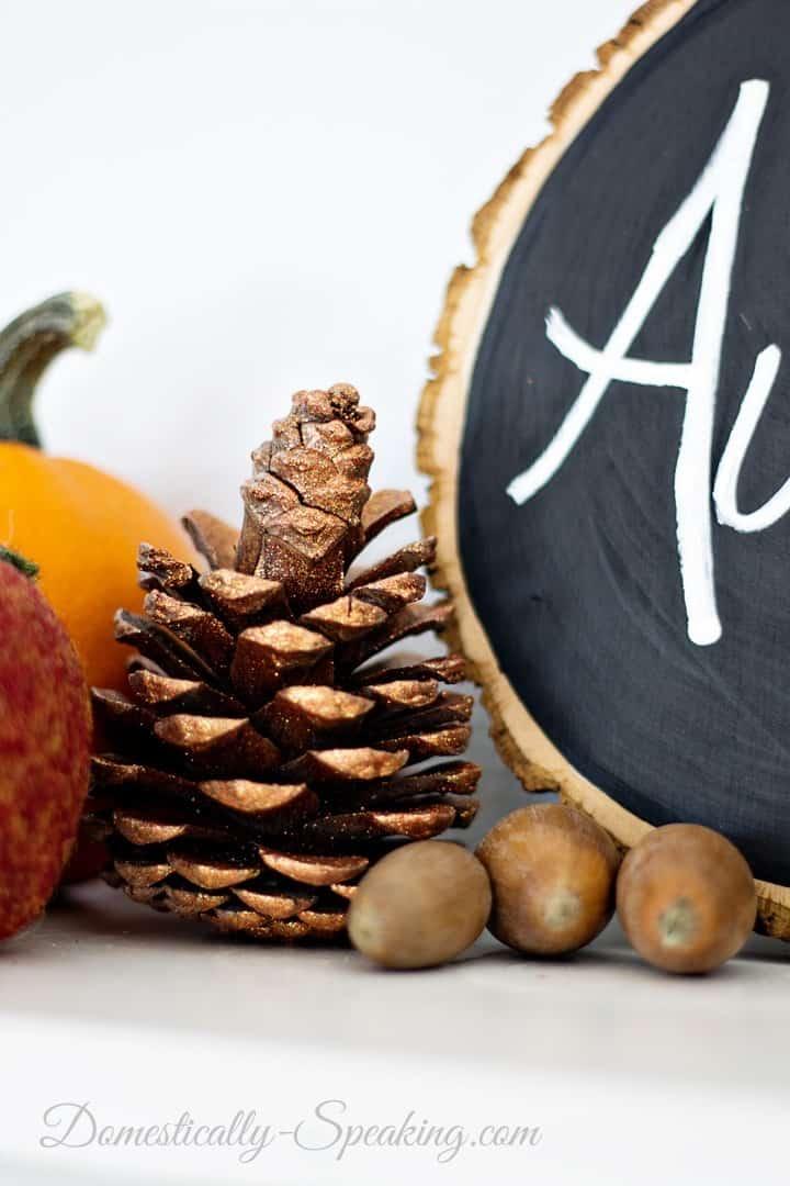 Autumn Mantel 2014... Orange, Whites, Bronze and Browns
