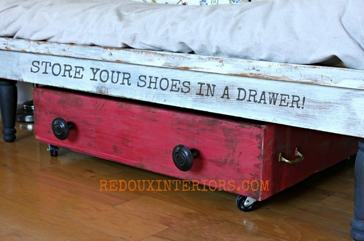 Drawer Repurposed to Store Shoes from Redoux Interiors