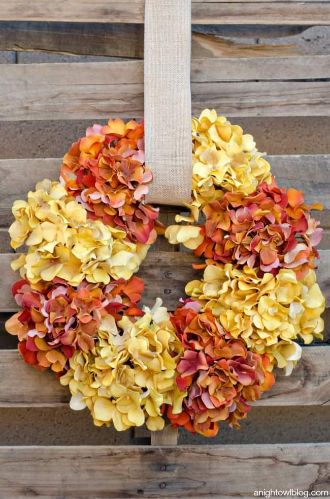 Easy-Fall-Hydrangea-Wreath-from A Night Owl Blog